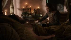 Robert Baratheon from Game of Thrones on a bed