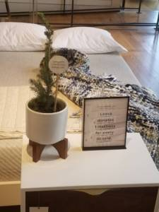 Leesa mattress display at West Elm