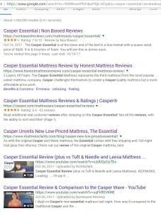 Casper essential review on Google #1 to nonbiasedreviews.com