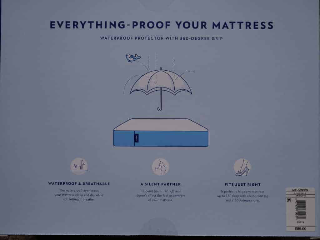Casper Mattress protector back of box