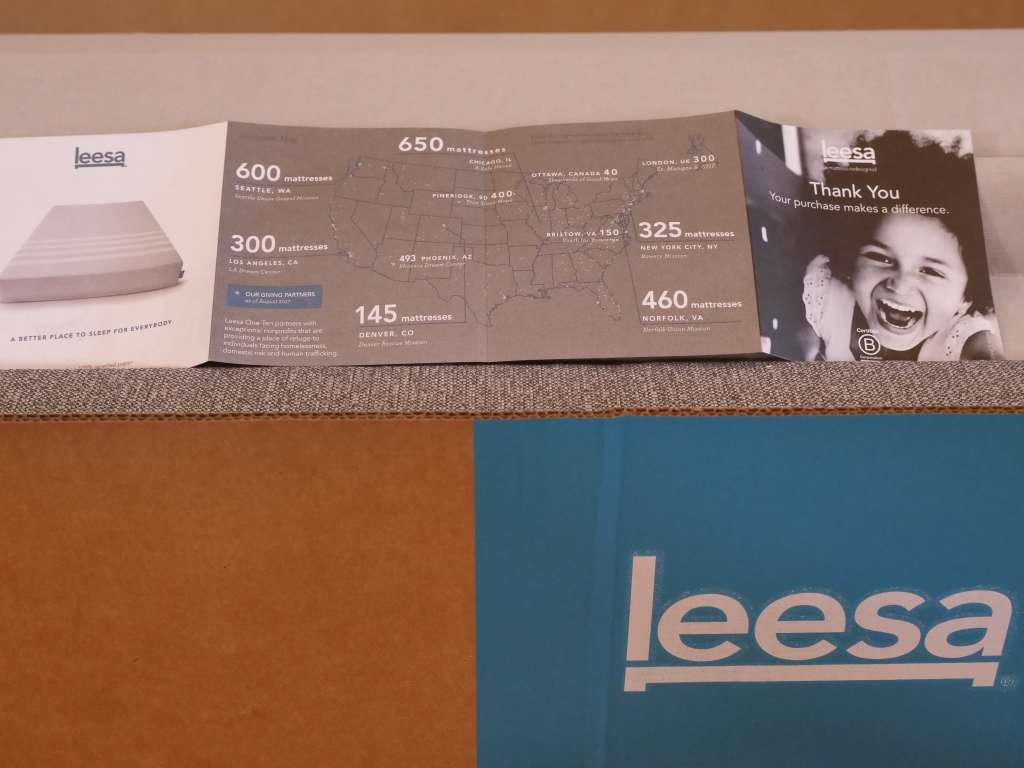 leesa foundation with the flier inside about their 1 in 10 program